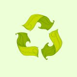 Recycle symbol made from leaves logo icon vector Royalty Free Stock Photo