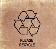 Recycle symbol on old textures Royalty Free Stock Images