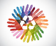 recycle symbol over diversity hands circle Stock Photography