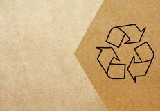 Recycle symbol. Printed on cardboard Stock Photo