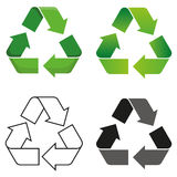 Recycle symbol. Set of four isolated vector recycle symbol royalty free illustration