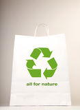 Recycle symbol on the shopping bag Stock Photo