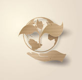 Recycle symbol or sign of conservation . Ecology concept . Vector symbol paper cut style stock image