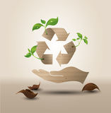 Recycle symbol or sign of conservation . Vector symbol paper cut style stock illustration