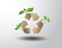 Recycle symbol or sign of conservation . Vector symbol paper cut style vector illustration