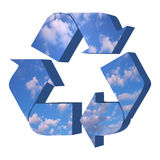 Recycle symbol with sky texture Stock Image