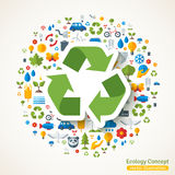 Recycle symbol sticker and ecology icons. Recycle symbol flat sticker and ecology icons. Vector concept illustration with icons of environment, green energy and royalty free illustration
