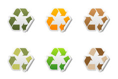 Recycle symbol stickers with peeled edge. Set of 6 recycle symbol stickers with peeled edge Royalty Free Stock Image