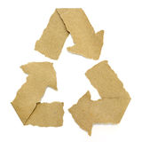 Recycle symbol torn from Recycle Paper. On white Royalty Free Stock Images