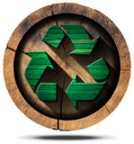 Recycle Symbol on Tree Trunk Stock Photography