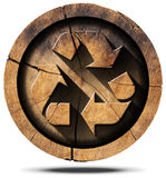 Recycle Symbol on Tree Trunk Royalty Free Stock Images