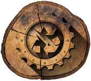 Recycle Symbol on Tree Trunk Stock Photo