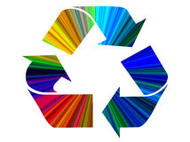 Recycle Symbol. In vibrant rainbow colors isolated on white background stock image