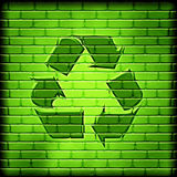 Recycle symbol on wall Stock Photo