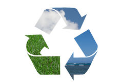 Recycle Symbol with water, sky and grass Royalty Free Stock Photos