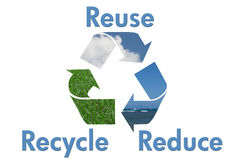 Recycle Symbol with water, sky and grass Stock Images