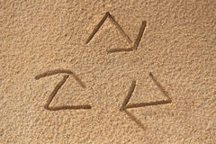 Recycle symbol written(drawn) in beach sand - concept photo Royalty Free Stock Photography