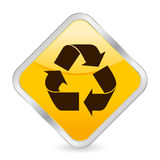 Recycle symbol yellow icon Stock Photos