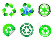 Recycle symbols. Set of six recycle symbols Royalty Free Stock Images