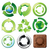 Recycle symbols. Various stylized icons and buttons Royalty Free Stock Photography