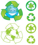 Recycle Symbols. Vector cartoon planet Earth with recycle symbol and several vector recycle symbols and icons. Great mascot or logo for going green or recycling stock illustration