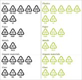 Recycle symbols with codes Stock Photography