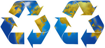 Recycle symbols with earth map. World planisphere in two different recycle symbols, digital illustration Stock Image