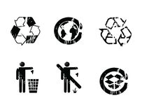 Recycle symbols grunge effect Royalty Free Stock Photo