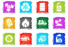 Recycle Symbols icon set. Recycle simply symbols in grunge style for user interface design Royalty Free Stock Photos