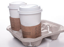 Recycle takeout coffee cups and tray Royalty Free Stock Images