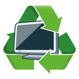 Recycle television. Electronic device television with recycling symbol. Isolated vector illustration. Waste Electrical and Electronic Equipment - WEEE concept Royalty Free Stock Image