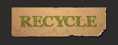Recycle text on blank grunge recycled paper Stock Images