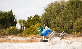 Recycle and Trash Bins on Beach Stock Images