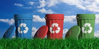 Recycle trash bins on blue sky and grass background. 3d illustration vector illustration