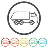 Recycle truck icon, Garbage Truck, 6 Colors Included stock illustration