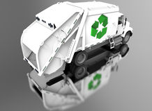 Recycle truck self reflection Stock Images