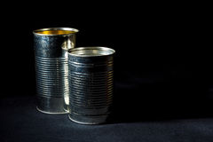 Recycle. Two empty tin cans, cleaned and ready for recycling royalty free stock image