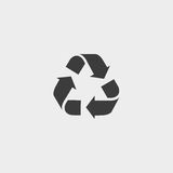 Recycle vector icon. Style is flat symbol, gray color, rounded angles, white background. Royalty Free Stock Photos