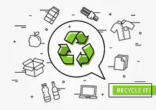 Recycle it vector illustration. Recycle symbol with recyclable things creative illustration Royalty Free Stock Photos