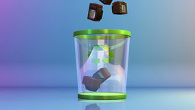 Recycle, Vintage TV falling into a Garbage Bin, Alpha, stock footage. Video stock video footage