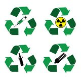 Recycle waste bins icons. Different recycle waste bins icons. Waste types segregation recycling. Medical, syringe, glass, nuclear, fuel rods, lamps Vector Stock Images