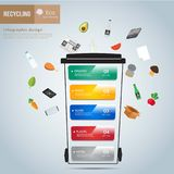 Recycle waste bins infographic. Recycle waste bins infographic, Waste types segregation recycling concept,paper,organic,plastic on paper craft die-cut.Green and Royalty Free Stock Images