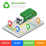 Recycle waste concept. Garbage disposal with gps navigation on city. Sorting garbage. Ecology and recycle concept. Flat Royalty Free Stock Photography