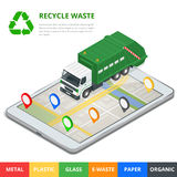 Recycle waste concept. Garbage disposal with gps navigation on city. Sorting garbage. Ecology and recycle concept. Flat Royalty Free Stock Images