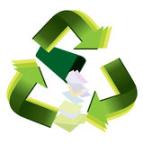 Recycle waste paper. With varies tones of green Stock Images