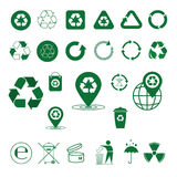 Recycle Waste Symbol Green Arrows Logo Set Web Icon Collection. Vector Illustration royalty free illustration