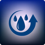Recycle water. Recycling water symbol with droplets in the arrow Royalty Free Stock Photo
