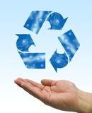 Recycle water hand. One hand care the recycle logo, water element Stock Photos