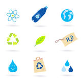 Recycle, water and nature icons isolated on white Royalty Free Stock Photo