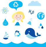 Recycle water: school nautical and water icons. School water and recycle elements. Smiling school girl, water drop, lab bottle with water, earth, whale Royalty Free Stock Photography